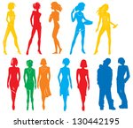 silhouettes of many people.... | Shutterstock .eps vector #130442195