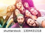 multiracial millenial friends... | Shutterstock . vector #1304431318