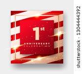 1 year anniversary celebration...   Shutterstock .eps vector #1304444392