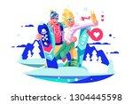 smiling boy and girl taking... | Shutterstock .eps vector #1304445598