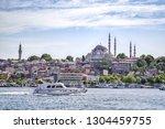 modern boat on golden horn with ...   Shutterstock . vector #1304459755