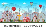 an amusement park background... | Shutterstock .eps vector #1304493715