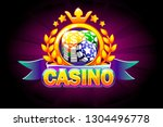 casino banner with ribbon  icon ...