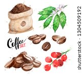 watercolor illustration set of... | Shutterstock . vector #1304509192