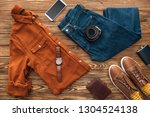 flat lay with clothes ... | Shutterstock . vector #1304524138