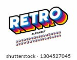 retro style colorful font... | Shutterstock .eps vector #1304527045