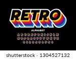 retro style colorful font... | Shutterstock .eps vector #1304527132