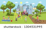 public park in the city with... | Shutterstock . vector #1304531995