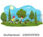 two boys play football in the... | Shutterstock .eps vector #1304535502