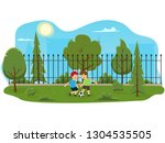 two boys play football in the... | Shutterstock .eps vector #1304535505