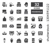 household icon set. collection... | Shutterstock .eps vector #1304591122