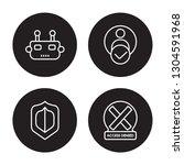 4 linear vector icon set   bot  ... | Shutterstock .eps vector #1304591968