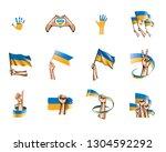 ukraine flag and hand on white... | Shutterstock .eps vector #1304592292