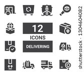 delivering icon set. collection ... | Shutterstock .eps vector #1304604082