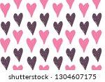 hand drawn doodle heart pattern ... | Shutterstock .eps vector #1304607175
