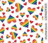 seamless pattern with rainbow... | Shutterstock .eps vector #1304609305