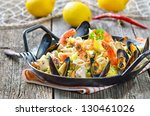 tasty spanish paella with...   Shutterstock . vector #130461026