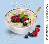 oatmeal with forest berries. ... | Shutterstock .eps vector #1304610922