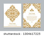 gold and white vintage greeting ... | Shutterstock .eps vector #1304617225