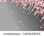 flying petals on transparent... | Shutterstock .eps vector #1304618425