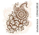 mehndi flower pattern with... | Shutterstock .eps vector #1304618818