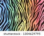 zebra print on rainbow...   Shutterstock . vector #1304629795