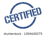 certified blue round stamp | Shutterstock .eps vector #1304630275