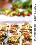 Stock photo raw vegan buffet zucchini lasagna with garlic tomato filling food preparation workshop 1304661022