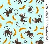 cartoon animals and bananas... | Shutterstock .eps vector #1304662525
