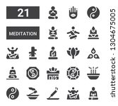 meditation icon set. collection ... | Shutterstock .eps vector #1304675005