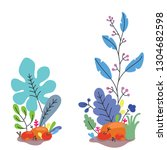 fantasy flowers and plants flat ... | Shutterstock .eps vector #1304682598