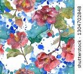 red camelia floral botanical... | Shutterstock . vector #1304702848