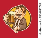 man with beer circle logo | Shutterstock .eps vector #1304703778