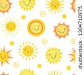 sun seamless pattern. summer...   Shutterstock .eps vector #1304710975