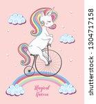 magical unicorn illustration. | Shutterstock .eps vector #1304717158