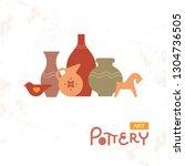 different pottery vases in... | Shutterstock .eps vector #1304736505