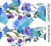 blue purple flax floral... | Shutterstock . vector #1304742238