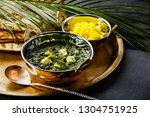 palak paneer indian food with... | Shutterstock . vector #1304751925