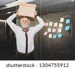 senior business man employee... | Shutterstock . vector #1304755912