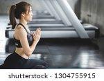 fitness asian woman doing yoga... | Shutterstock . vector #1304755915