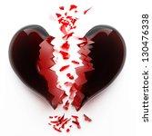 3d Render Of Red Broken Heart...