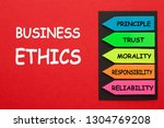 business ethics and arrows with ... | Shutterstock . vector #1304769208