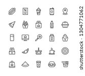 set of 25 food icon in line art. | Shutterstock .eps vector #1304771062