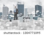 confident businessman in suit... | Shutterstock . vector #1304771095