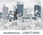 confident businessman in suit... | Shutterstock . vector #1304771095
