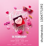 valentine's day sale poster or... | Shutterstock .eps vector #1304771392