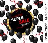black balloons super sale. logo ... | Shutterstock .eps vector #1304774815