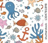 underwater cartoon  pattern... | Shutterstock .eps vector #1304781898