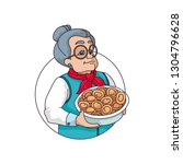 grandmother cooks dumplings... | Shutterstock .eps vector #1304796628
