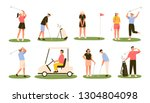 collection of golf players... | Shutterstock .eps vector #1304804098